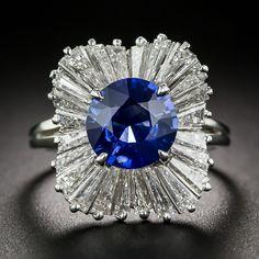 Sapphire, Platinum and Diamond Ballerina Ring