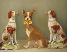 Walter preferred the quiet company of the porcelain dog figurines- LEP by Janet Hill Studio