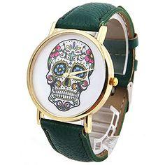 DAYAN Damenmode Sport Watch Genf Schädel Gold-Leder Analog Quarz-Armbanduhr Farbe Grün - http://uhr.haus/dayan/dayan-damenmode-sport-watch-genf-schaedel-gold-5