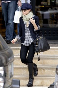 Olsens Anonymous Blog Style Fashion Ashley Olsen Twins Knee High Balenciaga Boots Flat Cap Blazer Plaid Button Down Hermes Jeans Leather