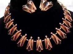 MATISSE RENOIR Set Enamel Copper Necklace Earrings by TheCopperCat