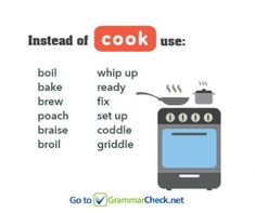 """Words related to """"cook"""" English Learning Spoken, Learn English Words, English Writing, English Lessons, Writing A Book, Writing Tips, English Vocabulary, English Grammar, What To Use"""