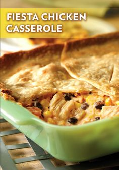 Fiesta Chicken Casserole — This crowd-pleasing casserole recipe uses canned chicken soup, corn, and beans for a delicious and filling dinner. You're gonna love the flaky pie crust!