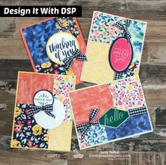 Video showing Quick & Easy cards using Designer Series PaperGarden Impressions. #dsp #designerseriespaper #gardenimpressions