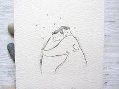 big hug drawing postcard art love pencil drawing minimalist