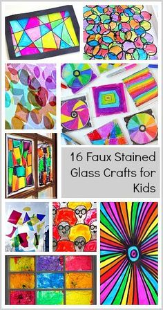 16 Faux Stained Glass Crafts for Kids- All kinds of colorful sun catchers to make with kids of all ages!