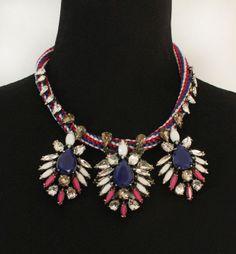 Copper claw glass crystal gem retro Necklace