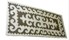 Felt rug, dark beige-white, size: 0.80m x 1.70m http://www.shyrdak-felt-rugs.com/