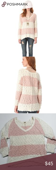 Free People   Rugby Striped Songbird Pullover One of our favorite sweaters, now in stripes! The Songbird Pullover by Free People features a knubby knit body with a V-neck, relaxed fit, seamed detailing throughout, and ribbed trim.  Bust: 18.5 inches across the chest  Length: 25 inches Free People Sweaters V-Necks
