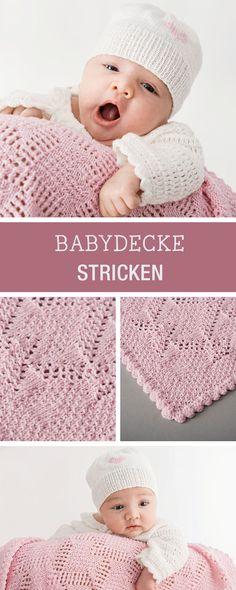 Strickmuster: Babydecke mit Ajour- und großem Perlmuster / knitting pattern: lace baby blanket via DaWanda.com