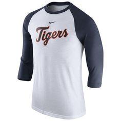 b32c1cb12121 Nike Detroit Tigers White Navy Wordmark Three-Quarter Sleeve Tri-Blend  Raglan T-Shirt