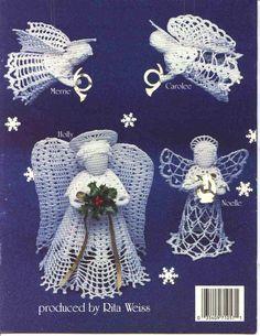 Christmas Angels in Crochet Thread Holiday Tree by LucyGooseyDolls Crochet Ornaments, Christmas Crochet Patterns, Holiday Crochet, Crochet Snowflakes, Christmas Angel Ornaments, Christmas Crafts, Crochet Angels, Crochet Angel Pattern, Angel Crafts