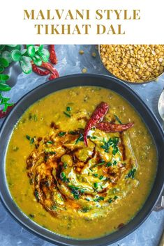 This vegan Malvani Tikhat Dal is an amti style lentil recipe. The vatan/ground masala brings out the taste of this dal by giving it a mild flavor and punch! #tikhatdal #dal #lentils #indiandal #malvani #malvanidal #vatan #vatapachitikhatdal #dinnerrecipes #comfortfood #amti #varan #vegan via @cookiliciousveg