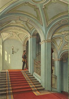 Interiors of the Winter Palace. The Saltykov Staircase - Konstantin Andreyevich Ukhtomsky - Drawings, Prints and Painting from Hermitage Museum