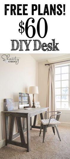 LOVE this DIY Desk! Free woodworking plans The post LOVE this DIY Desk! Free woodworking plans appeared first on Diy. Diy Furniture Easy, Diy Furniture Projects, Furniture Plans, Home Projects, Furniture Stores, Diy Computer Desk, Diy Desk, Home Office Decor, Diy Home Decor