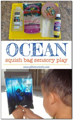 Use hair gel, sand, and plastic fish to create a simple ocean in a bag for kids to explore. Ocean Activities, Summer Activities, Learning Activities, Preschool Activities, Sensory Bags, Sensory Play, Ocean Unit, Ocean Crafts, Ocean Themes