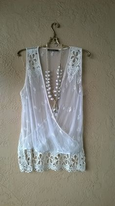 Image of Kimchi & Blue Romantic Lace and crochet cross over summer gypsy tank