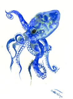 Blue and Green Octopus, original one of  a kind watercolor painting, nautical sea world animals by ORIGINALONLY on Etsy