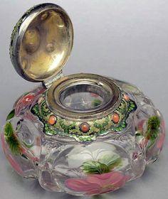 Tiffany - Encrier 'Fleurs' - Verre - Cornaline et Opale du Mexique - 1907
