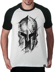 Camiseta Artseries Raglan Manga Curta Capacete Guerreiro Gladiador Romano  Branco f35b3b475cd