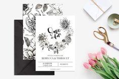 Printable Wedding Save the Date   Flowers  par CactusRosePaperCo