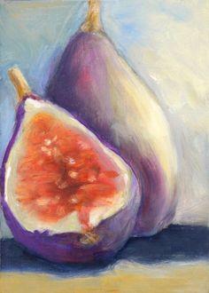 Figs ACEO Original Oil  Fruit Still Life Art  Wall by artonthemenu, $25.00