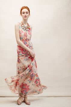 This floral silk maxi dress is so delicate and pretty.
