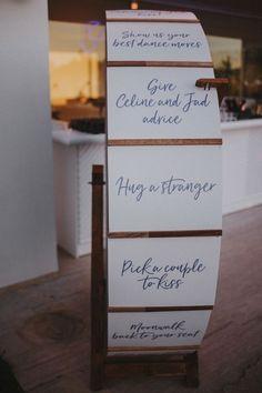 Wedding Table Games, Outdoor Wedding Games, Wedding Games For Guests, Cute Wedding Ideas, Wedding With Kids, Wedding Fun, Unique Wedding Reception Ideas, Wedding Kissing Games, Outdoor Weddings