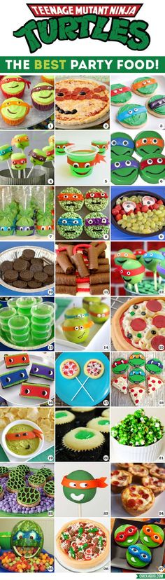 All the BEST Teenage Mutant Ninja Turtles party food ideas, together in one place! This makes party planning so easy!! #TMNT #TMNTparty