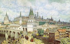 Аполлина́рий Миха́йлович Васнецо́в / Apollinary Mikhaylovich Vasnetsov (1856-1933) Расцвет Кремля. Всехсвятский мост и Кремль в конце XVII века. 1922