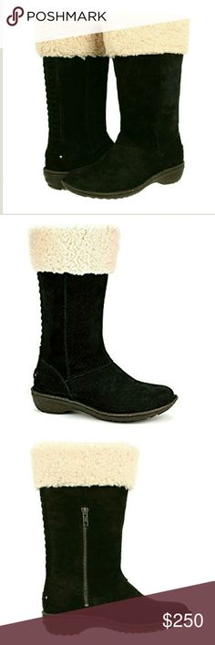 """UGG Australia Karyn Boots NWOB! UGG Australia Karyn Boots NWOB!  It's all in the details with the Karyn boot from UGG. Rich suede upper with braided detail along heel counter. Partial zipper on side for easy on and off. Upper lined in sheepskin. Soft suede lining. Generously cushioned footbed. Rubber outsole. New without box.  Heel Height: 1.5"""" Circumference: 14"""" Shaft: 11.5""""  No Trades   Use OFFER button to negotiate Please Ask ❓'s BEFORE you Buy Thank you for stopping by! Happy Poshing…"""