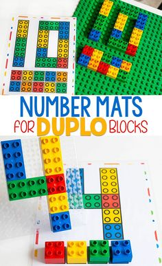 These are FREE printable math counting mats for DUPLO blocks that your preschoolers will enjoy. Teach your students to count to 10 with LEGO DUPLO bricks. They will provide lots of hands-on, engaging activities for your preschoolers or kindergarteners to learn from. #bricks #LEGO #DUPLO #freeprintable #LEGOcounting #math #kindergarten #preschool