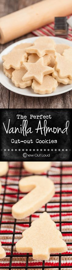 Vanilla Almond Cut-out Cookies Perfect Vanilla Almond Cut-out Cookies - Easy and fuss free. Buttery, tender cut-out cookies that keep their shape well. Perfect for decorating.Perfect Vanilla Almond Cut-out Cookies - Easy and fuss free. Buttery, tender c Christmas Cooking, Christmas Desserts, Christmas Treats, Xmas Food, Christmas Holiday, Yummy Cookies, Holiday Cookies, Almond Cookies, Buttery Cookies