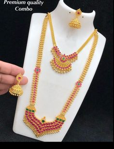 1 Gram Gold Jewellery, Gold Jhumka Earrings, Coral Jewelry, Gold Flowers, Indian Jewelry, Brides, Chain, Awesome, Red