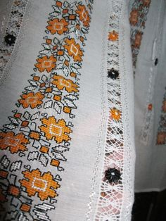 Hand embroidered Romanian blouse - orange floral pattern - M size
