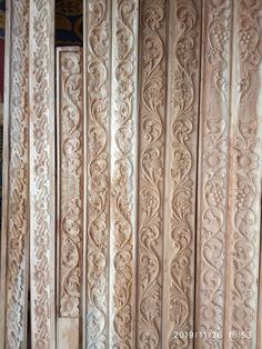 Contact for cnc design Door Design Wood, Pooja Room Door Design, Double Doors Interior, Wooden Wall Art Panels, Wood Carving Designs, Wood Doors, Kitchen Room Design, Wooden Main Door, Doors Interior Modern