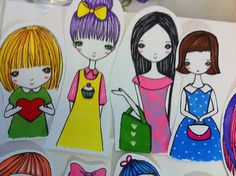 set of 9 Girl stickers by PimmBrandes on Etsy