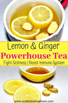 Remedies For Healthy Living Fight Sickness with Lemon Ginger Powerhouse Tea This tea is a powerful natural remedy for the cold and flu. Boost your immune system and fight sickness with Lemon Ginger Powerhouse Tea. Take care of your health and wellness! Ginger Tea For Cold, Ginger Lemon Honey Tea, Flu Remedies, Natural Remedies, Herbal Remedies, Health Remedies, Home Remedies For Flu, Tea For Cough, Ginger Benefits