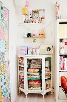 @ Heart Handmade UK: painted upcycled vintage fabric cabinet and patchwork door in the craft room
