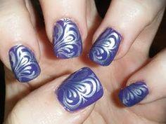 Purple w/Silver Swirly Design