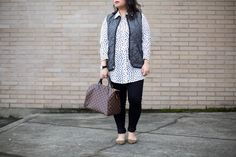 Who What Wear: http://www.sheislovelyblog.com/2016/03/who-what-wear.html feat. Who What Wear polka dot blouse via Target, Old Navy quilted vest, Uniqlo black legging pants, Gap pointed toe leopard flats, Daniel Wellington Classic Sheffield watch, and Louis Vuitton Speedy 30 in Damier Ebene.