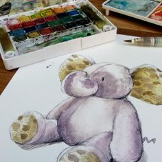 Baby Elephant Watercolor Nursery Art