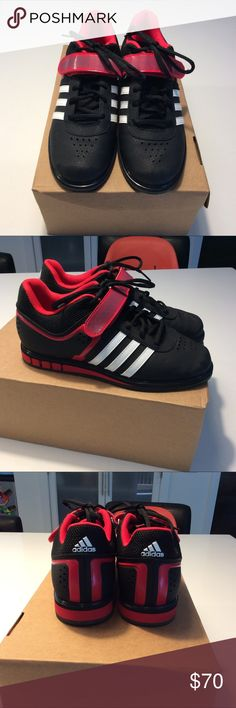 Adidas Powerlift 2 Sz 7.5W/6.5M Blk/Wh/Rd. Wore 1x in my home gym. Great shoes for powerlifting (squats, deadlifts, etc.) they are a Sz 6.5 men and fit me perfectly. I wear a size 7.5/8 women's. Love these shoes just can't get over the colors. I like one solid color better. adidas Shoes Athletic Shoes