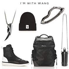 """""""I'm with Wang""""Clockwise: Beanie with Flip Girl by Alexander Wang, ARCUS carabiner by @svorndesign, Water Bottle by Alexander Wang, WALLIE Backpack by Alexander Wang, EDEN HIGH Sneakers by Alexander Wang, FENRIR pendant by @svorndesign ///#mensaccessories #accessories #streetstyle #streetstyleluxe #streetstyles #streetwear #streetwearfashion #urbanstyle #urban #mensjewelry #jewelryformen #jewelry #mensfashion #giftideas #menfashion #edc #streetfashion #everydaycarry #menswear #edc"""