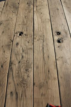 find salvaged flooring in similar tone if not reused from site - find salvaged flooring in similar tone if not reused from site find salvaged flooring in similar tone if not reused from site Rustic Wood Floors, Farmhouse Flooring, Plank Flooring, Wooden Flooring, Hardwood Floor Colors, Refinishing Hardwood Floors, Cottage Interiors, Sweet Home, New Homes