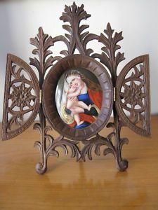 Porcelain painting miniature, big carved black forest frame 1880
