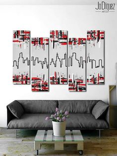 Original Chicago skyline painting. 41x64 Red and black