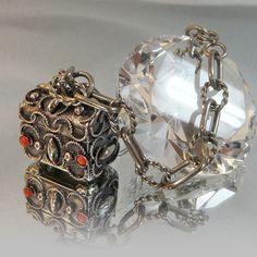 Vintage Charm Bracelet  Treasure Chest Silver Plated by waalaa, $33.99