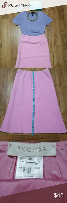 Escada Skirt 100% authentic Escada Pink Wool A line skirt. Faint front stain in front of skirt (middle) Please know your size before purchasing.   ***Shirt and accessories in picture are not included*** **Decoration purposes only*** Escada Skirts A-Line or Full
