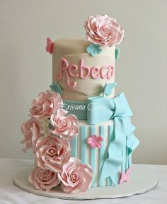 Roses & Bow Cake 2 Tier Cake, Tiered Cakes, Cute Birthday Cakes, Girl Birthday, Bow Cakes, Butterfly Cakes, Girl Cakes, Cute Cakes, Creative Cakes